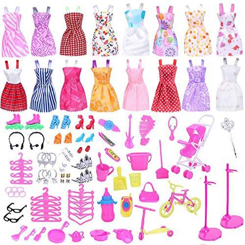 Ouinne 114 Stück Kleidung zubehör Set mit 16 Kleidung Kleid Dress und 98 Accessories Zubehör Ständer Kleiderständes Schuhe