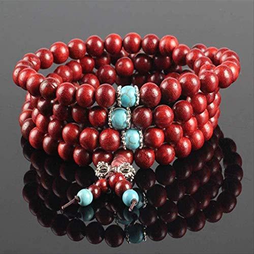 TYWZH Collar 0,8 cm * 108 Cuentas de oración budistas tibetanas de Palisandro Rojo Pulsera de Buda Rosario Brazalete de Madera Cadena de Cuerda elástica joyería