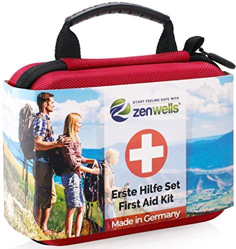 *Erste Hilfe Set EINFÜHRUNGSANGEBOT Perfekt für Wandern, Outdoor, Fahrrad, Sport und Reisen – First Aid Kit mit BONUS Notfall Trillerpfeife, Pinzette und Karabiner*