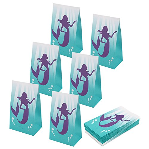 RecooTic Mermaid Party Bags Goodie bags for Kids Mermaid Themed Party, Pack of 24