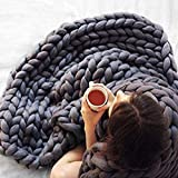 Super Chunky Yarn, Hand-Made Merino Large Knit Blanket Arm Thick Wool Bulky Hand Knitted Knitting Warm Throw Soft Sofa Decorative (Color : Dark Gray, Size : 80x80cm/31x31in)