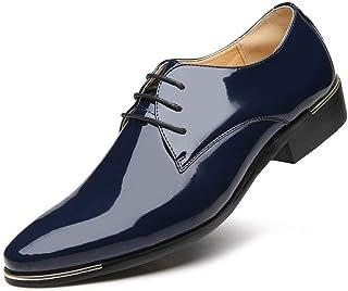 Zapatos de Negocios para Hombres Zapatos de Charol con Cordones código Extra Grande