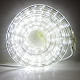LED Rope Light Outdoor - Plug In (120V), 287 Cool White Lights, 24 Ft Length, Connectable, Dimm…