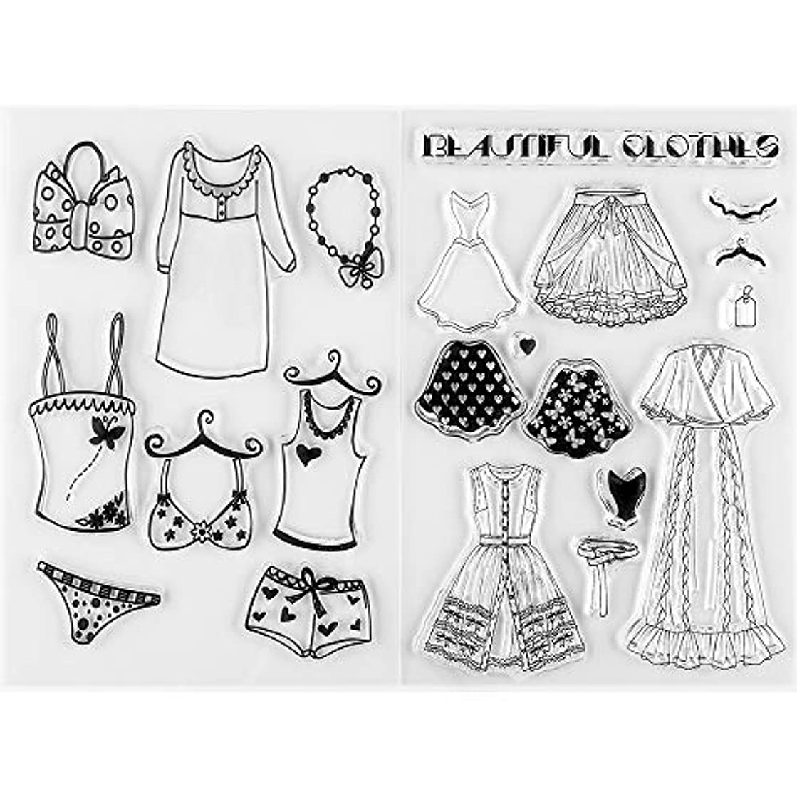 MaGuo Clear Stamps Women's Clothes for Paper Craft Decoration and DIY Scrapbooking