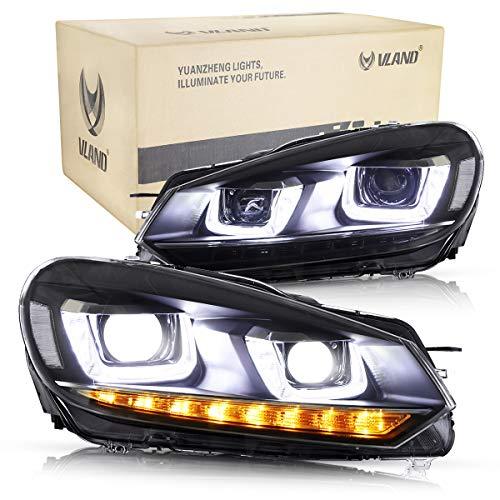 VLAND LED-Frontblinker set Schwarz für GOLF mk6 TDI TSI 2008-2013 Scheinwerfer mit sequentieller Blinker