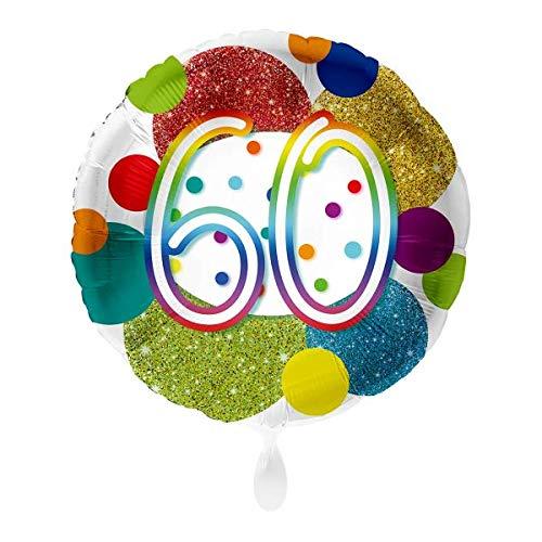 Luftballon Markt 1 Folienballon 60 Geburtstag Punkte bunt rund ca.45 cm ungefüllt Ballongas geeignet