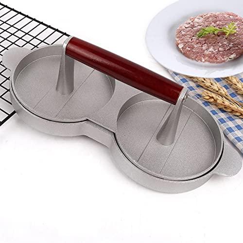 GODPAJ - Rejilla doble de aleación de aluminio, mango de madera recubierto antiadherente, fácil de limpiar, molde para carne picado, sólido y resistente, accesorios Kitchenaid