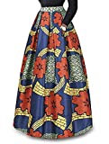 930 - Plus Size Ethnic African Print Long Maxi Skirt (2X, Red)