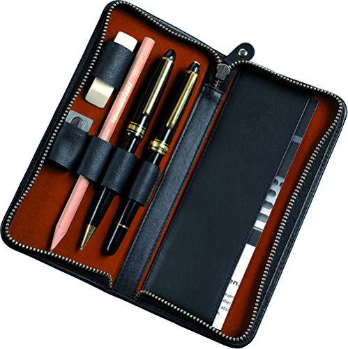 Alassio 2638 - Schreibgeräteetui aus echtem Leder, Etui in schwarz, Stiftetui ca. 17,5 x 8 x 2,5 cm, Lederetui für 3 Stifte und Zubehör
