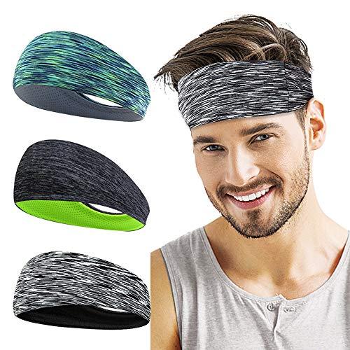 LATTCURE Sport-Stirnband 3 Pack, Herren Stirnband, Schweißband, Stirnband Anti Rutsch, für Jogging, Laufen, Wandern, Fahrrad- und Motorrad Fahren