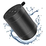 Portable Bluetooth Speaker, COMISO Small Wireless Shower Speaker 360 HD Loud Sound Stereo Pairing Waterproof Mini Pocket Size Built in Mic Support TF Card for Travel Outdoors Home Office Black