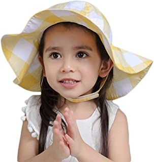 DANMY Baby Girl Sun Hat with UPF 50+ Outdoor Adjustable Beach Hat with Wide Brim UPF 50+ Protection Bow Hats