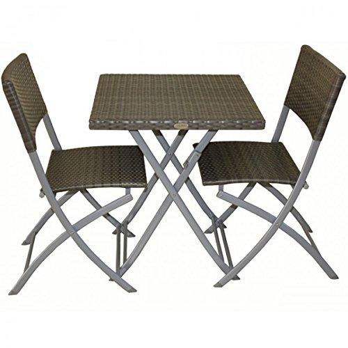 Garden Pleasure 3-TLG. Balkonset Sitzgruppe Norfolk grau Stahl Kunststoffgeflecht Rattan Optik Tisch 2 Stühle klappbar