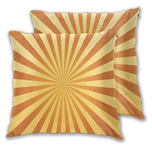 ALLMILL 2 Stück Deko-Kissenbezug 55x55cm,60er Jahre Stil Sonnenlicht Orange Muster,quadratisch Kissenbezüge für Sofa Bett Wohnzimmer Schlafzimmer Inneneinrichtungen