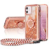 WORLDMOM Compatible with iPhone 12 Mini Case,Moving Liquid Floating Sparkle Bling Diamond Glitter Waterfall TPU Phone Case with Ring Kickstand 5.4 inch, Gold