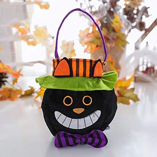 LXJ Halloween, Halloween-Party Requisiten, Dekorationen, Halloween Kinder Süßigkeit Flanell Geschenk-Beutel mit Cap-R&e Tragetasche Geist-Festival-Karikatur Schwarzer Katzen-Einkaufstasche