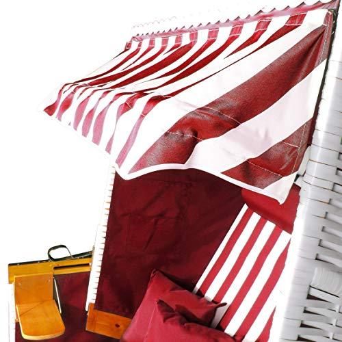 BRAST Strandkorb Nordsee XXL Volllieger Weiß Rot gestreift incl. Schutzhülle 2 Sitzer 120cm breit Gartenliege Sonneninsel Poly-Rattan - 7