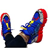 Aniywn Women's Snakeskin Colorful Platform Sneakers Comfort Casual Walking Shoes High Top Lace-Up Slip On Sneaker Blue