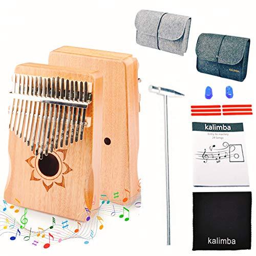Kalimba Thumb Piano 17 teclas, adultos principiantes, profesional, fácil de aprender, portátil, regalos de piano con martillo de afinación, instrucción de estudio (Color madera)