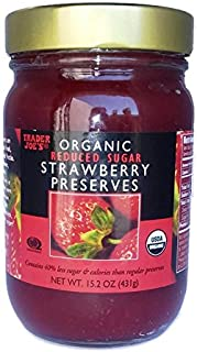 Trader Joes Organic Strawberry Preserves, Reduced Sugar, 15.2oz/431gr