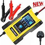 Mansso Car Battery Charger, Motorcycle Battery Charger 12V/24V 7 Stage Charging Fully Automatic Battery Charger, Use for Lithium Batteries, Calcium/Lead-acid Batteries, with LCD Screen