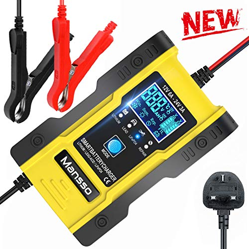 Mansso Car Battery Charger, 12V-24V Intelligent Automatic Charger,...