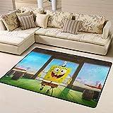 Zmacdk Alfombra de Bob Esponja para sala de estar, alfombra fácil de limpiar, para sala de juegos, dormitorio, 6 x 8 pies (180 x 240 cm), Bob Esponja