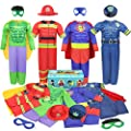 Teuevayl Boys Muscle Chest Dress up Costumes Trunk with Superhero, Policeman, Fireman Costume, Kids Pretend Role Play Costumes Set, Boys Dress up Clothes for Kids Ages 4-7 by Teuevayl