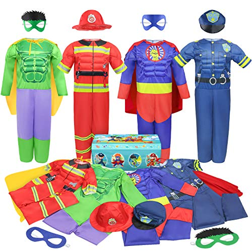 Teuevayl Boys Muscle Chest Dress up Costumes Trunk with Superhero, Policeman, Fireman Costume, Kids Pretend Role Play Costumes Set, Boys Dress up Clothes for Kids Ages 4-7