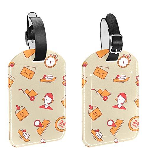 Etiqueta inicial para equipaje de viaje, totalmente flexible, de piel sintética, juego de 2 unidades, color marrón
