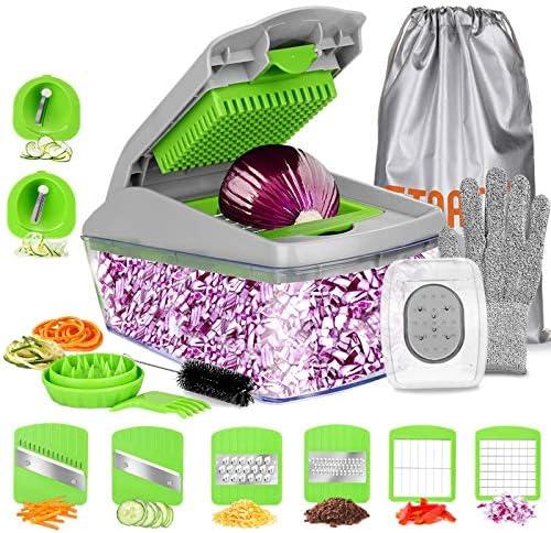 FITNATE 14 in 1 Vegetable Food Chopper Slicer Dicer 8 Blades Onion Chopper Vegetable Spiralizer product image