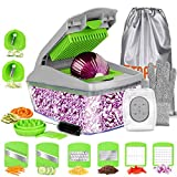 FITNATE Vegetable Chopper 14 in 1 Onion Chopper Multifunctional Food Chopper for Kitchen, Veggie Chopper and Dicers with 8 Blades Mandoline Slicer with Container,Storage bag