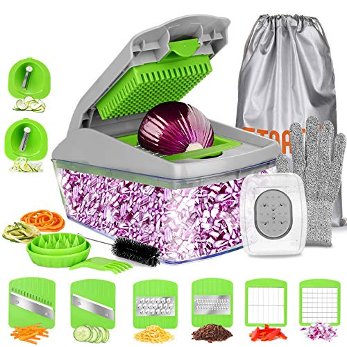 FITNATE 14 in 1 Vegetable&Food Chopper Slicer Dicer, 8 Blades, Onion Chopper, Vegetable Spiralizer Mandoline Slicer Dicer Pro, Veggie Shredder Cutter, with Brush &Organizer Bag