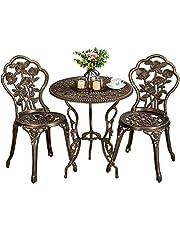 Yaheetech 3-delige Bistroset, zitgroep, balkonset, tuinmeubelen, tuintafel met 2 stoelen bronskleurig