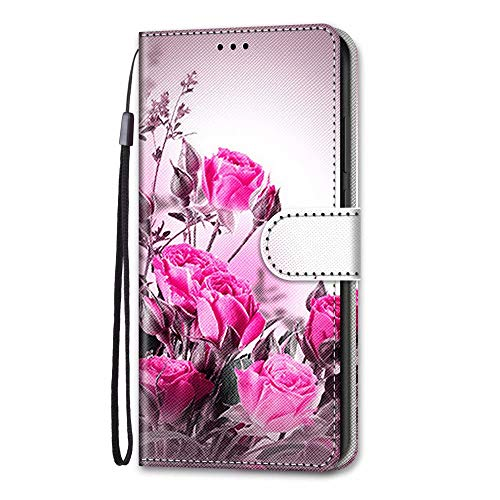 For Xiaomi Redmi 9 Case, 3D Art Shockproof Premium Soft PU Leather Shock-Absorption Notebook Wallet Phone Cases with Kickstand Function Card Holder ID Slot Slim Flip Protective Cover Hot Rose