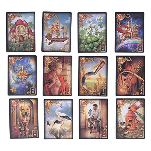 47 Tarot Card Deck, klassisk design Tarot Cards, Protable Mysterious Divination Playing Card Future Telling Game Cards Set with Colourful Box for Family Friends Party