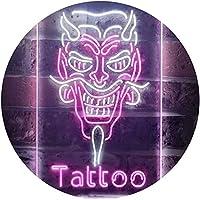 Hannya Mask Tattoo Dual Color LED看板 ネオンプレート サイン 標識 白色 + 紫 210 x 300mm st6s23-i3286-wp