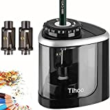 Tihoo Electric Pencil Sharpener, Manual and Electric Sharpening with 3 Replaceable Blades, Battery Powered, Anti-Slip, Safe Automatic Stop, Suitable for School/Classroom/Office/Home(Black)