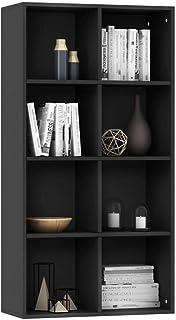 Tidyard Estantería/Aparador aglomerado Estantería de Pared Librería del salón para Libros Juguetes CDs Negro 66x30x130 cm
