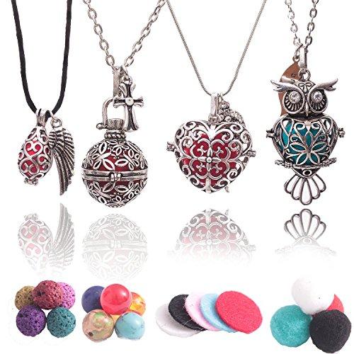 Collana con diffusore di oli essenziali per aromaterapia e sette chakra con pietre laviche, perline di cotone, perline dei chakra e tamponi. Gufo, cuore, a goccia e rotondo.