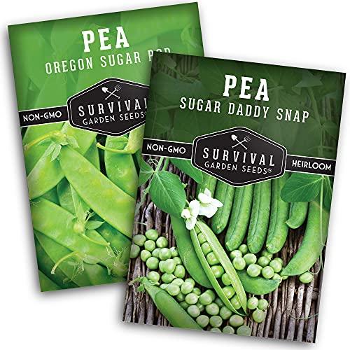 Survival Garden Seeds Sugar Peas Collection Seed Vault - Non-GMO Heirloom Seeds...