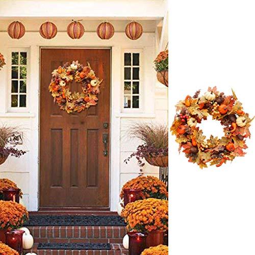 D-XinXin 20' Fall Wreath, Autumn Harvest Wreath with Pumpkin Maple for Front Door Decor, Artificial Pumpkin Pine Cone Door Garland for Thanksgivings Indoor Outdoor Decoration (Multicolor)