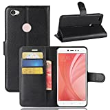 95Street Handyhülle für Xiaomi Redmi Note 5A Schutzhülle Book Case für Xiaomi Redmi Note 5A, Hülle Klapphülle Tasche im Retro Wallet Design mit Praktischer Aufstellfunktion - Etui Schwarz