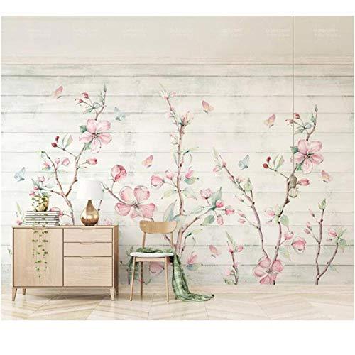 Wuyyii Kleurrijke Sakura Oosterse Kersenbloesem Bloem Muurschildering Fotobehang Muurschildering Hand Schilderen Bloemen Vlinder Wallpapers Roll 400x280cm