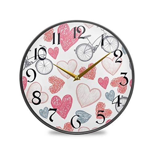 ART VVIES Reloj de Pared Redondo de 9,5 Pulgadas Que no Hace tictac silencioso Funciona con Pilas Oficina Cocina Dormitorio decoración del hogar-corazón y Bicicleta