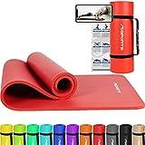 MSPORTS Gymnastikmatte Premium inkl. Tragegurt + Übungsposter + Workout App I Hautfreundliche...