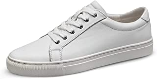 XueQing Pan Fashion Sneakers for Men Casual Skater Shoes Lace up Low Top Soft Genuine Leather Wear Resistant Round Toe Vegan Lightweight (Color : White, Size : 9.5 UK)