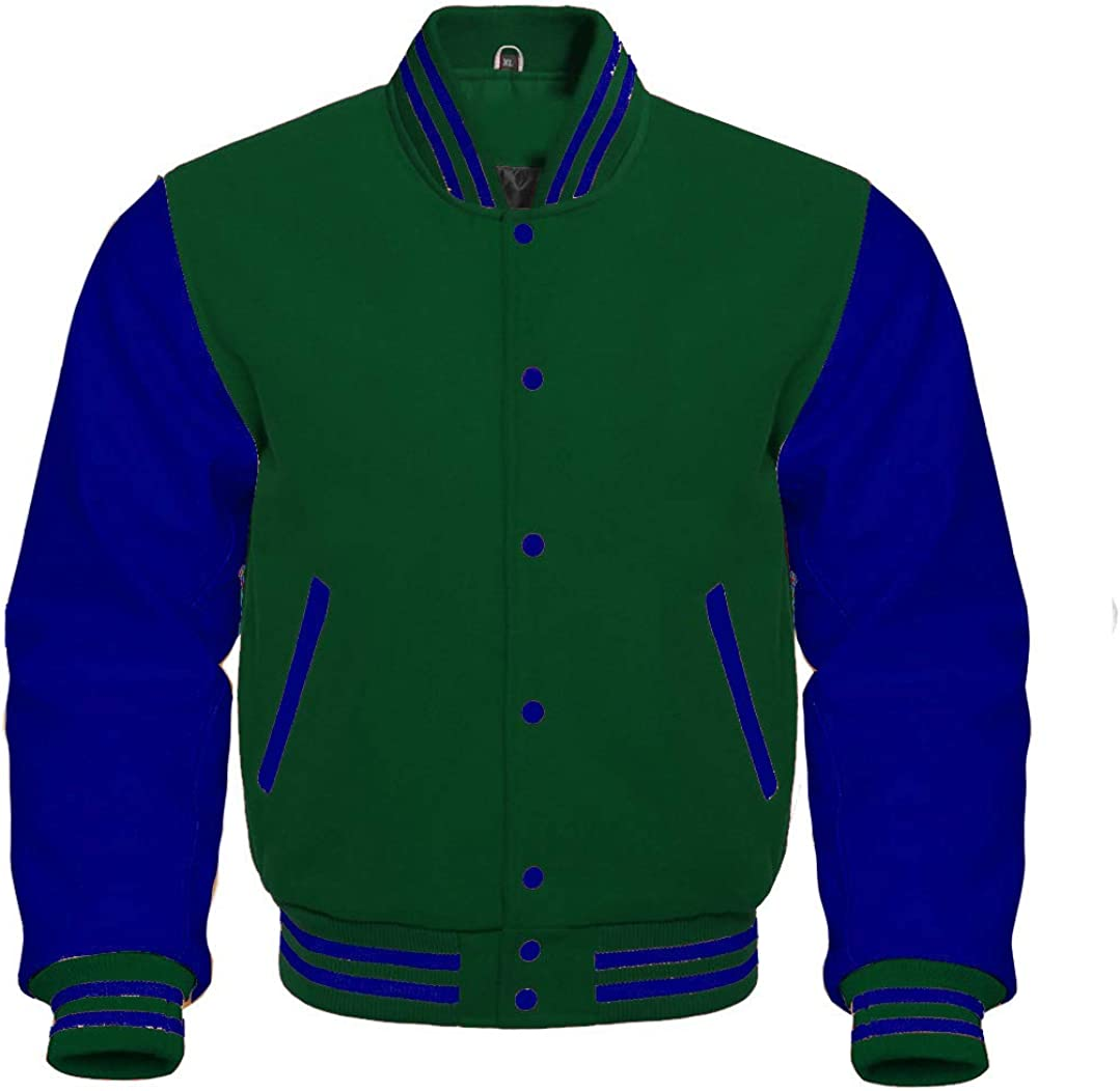 Varsity Letterman Baseball Bomber Retro Vintage Jacket Forest Green Wool Navy Genuine Leather Sleeves