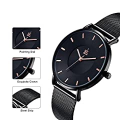 SK Fashion Women Watches Silver Stainless Steel Quartz Wristwatch Clock Ladies Bracelet Watches (0059 Black) #2