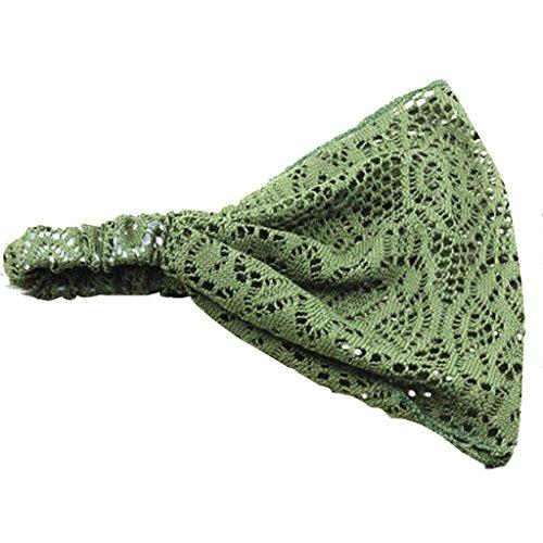 Prettyia Spitze Tuch Haarband Kopfschmuck Stirnband Kopftuch Bandana Sommer Accessoires - Grün